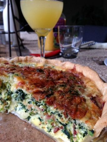 Nothing says brunch like quiche and a mimosa