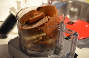 Toasted brioche crusts from the layered french toast I made getting ready to be pulsed into bread crumbs
