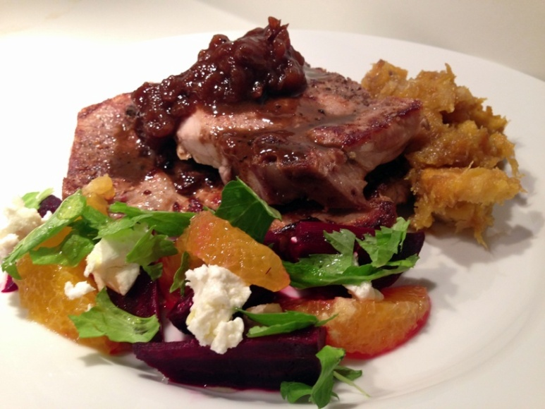 Pork chops topped with pan sauce and homemade pear-onion chutney served alongside roasted local acorn squash and a salad of roasted beets, orange supremes, celery leaves and goat cheese w/ a champagne vinaigrette.