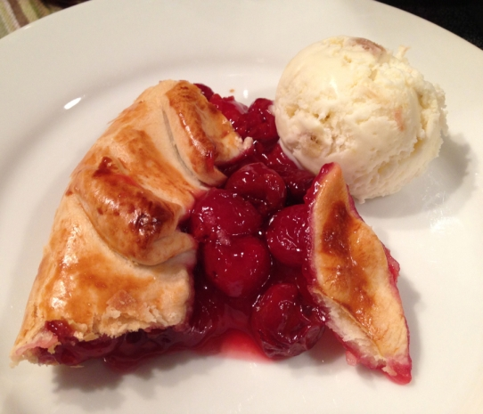 The flaky crust was a perfect savory companion to the tart cherry filling, which got a sweet, creamy caress from the homemade rhubarb-honey ice cream