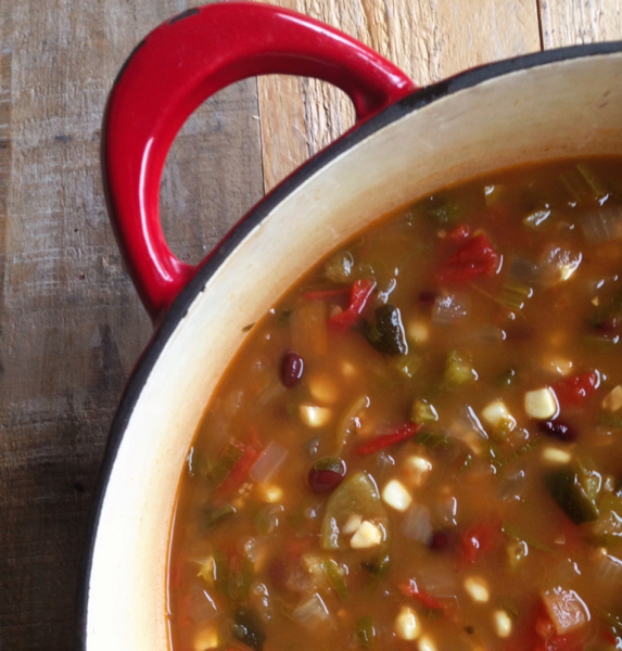 Roasted poblanos, tomatoes, corn, black beans and tomatillos all vying for the spotlight